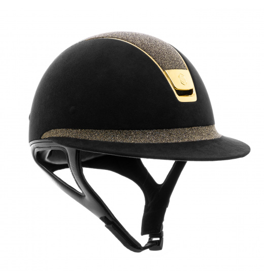 MISS SHIELD /PREMIUM CRYSTAL FABRIC SWAROVSKI GOLD BLACK HELMET