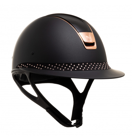 MISS SHIELD SHADOWMATT / SHADOW GLOSSY BLACK TOP / ALCANTARA SPARKLING ROSE GOLD FRONTAL BAND / ROSE GOLD CHROME / BLACK HELM -